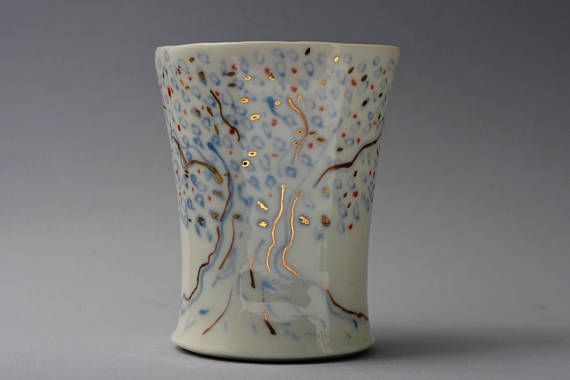 Porcelain wheel thrown-hand painted mug aprox 75oz. With