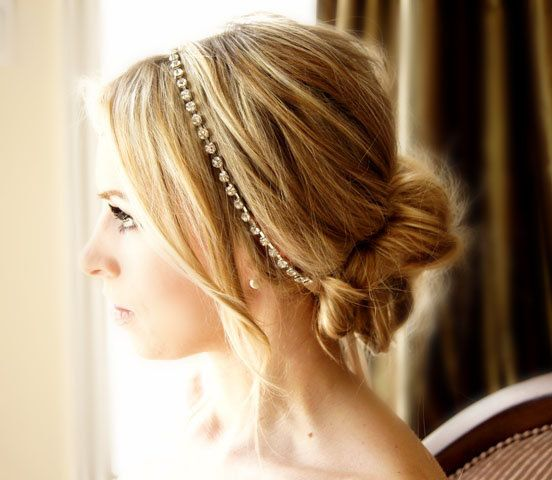 Crystal Headband Ribbon Tie on Silver or Gold Tone Bridal Special Occasion Hair Accessory Wedding Accessories. $52.00, via Etsy.