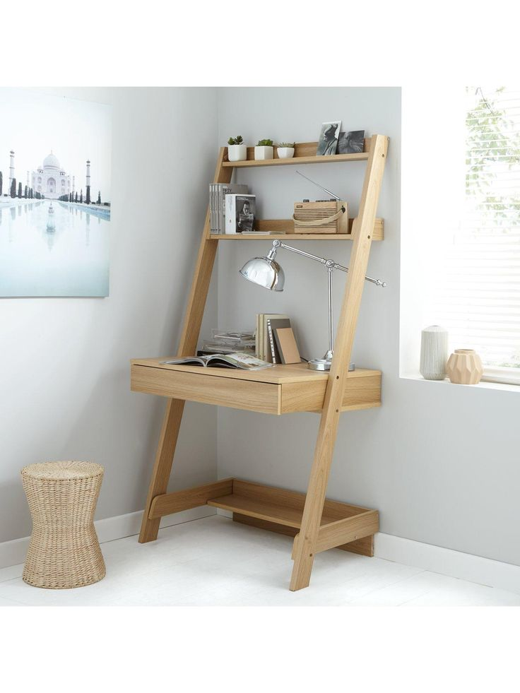 Metro Ladder Shelfwith Desk Metro Ladder desk is great for any office space, with its moden design and great storage with 3 shelves and 1 drawer. This contemporary desk has a trendy lean-to design that makes all your favourite pieces extra eye-catching.Assembly: Self AssemblyDepth: 590 MMHeight: 1654 MMWidth: 840 MMFinish Type: Wood EffectMaterial: No handleNumber of Drawers: 1Number of Shelves: 3Runner Detail: MetalAdjustable: NLadder DeskOak, White and Black finises3 Shelves1 Drawer with…