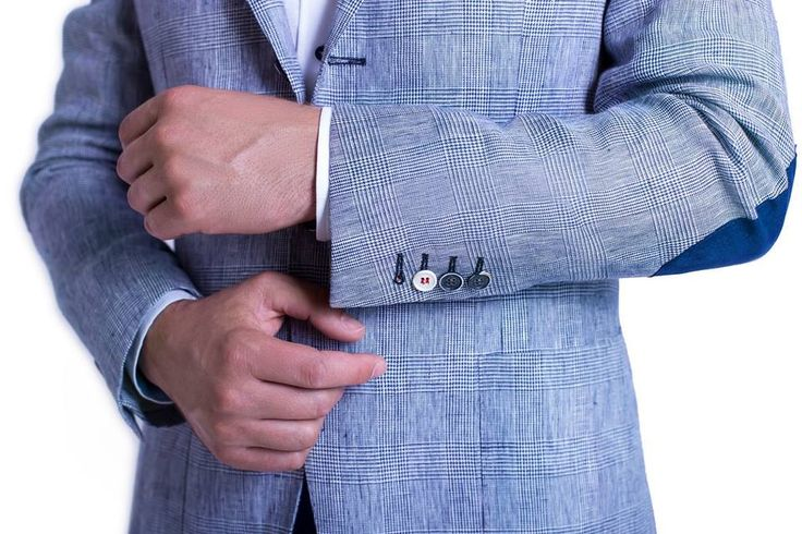 """""""Light Grey Checkered Jacket"""" with elbow patches and mix it with the """"Blue Cotton Trousers"""" and a """"White Linen Shirt""""."""