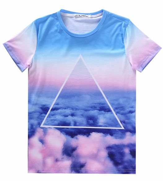 GrabMyLook Triangle Galaxy Universe Colorful Sky Cloud Short Sleeves T Shirt