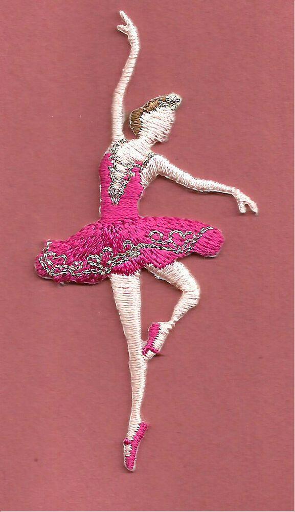 Danse-Ballet-Ballerine Fuchsia-brodé Iron On Applique Patch