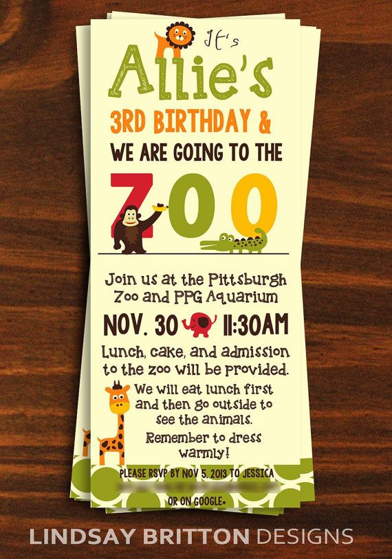 Zoo Birthday Party Invitation by LindsayBrittonDesign on Etsy, $15.00