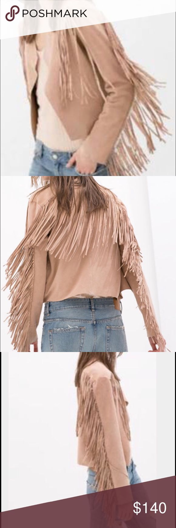 Zara Mauve Pink Fringe Leather Jacket Size small. In excellent condition. Only worn twice. Zara Jackets & Coats Blazers