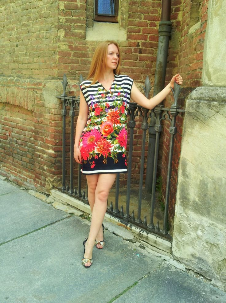 Stripes and floral print dress
