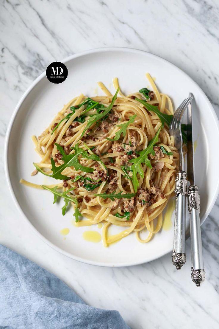 Makaron z tuńczykiem, cytryną, rukolą i soczewicą //Tuna, Lemon, Lentil & Rocket Spaghetti, Bavette pasta  #mojadelicja #food #foodporn #foodgasm #foodblog #foodstyling #photography #foodphotography #italy #italianfood #toscana #tuscany  #spaghetti #pasta #yummy
