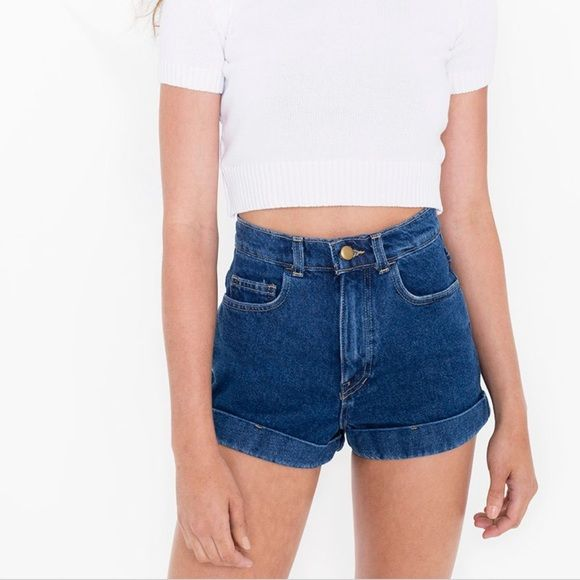 "American Apparel High Waist Cuff Shorts * New with tags!  * 100% cotton  * Made in the USA!  * I am a size 28 and these fit perfectly (just too short, I'm 5'10 with long legs)  * They always retail for $58!  * American Apparel sizing suggestion: ""Order a size down for a snug fit or to get a more relaxed feel order the same size as your waist measurement"" * ✨Reasonable offers welcome American Apparel Shorts Jean Shorts"
