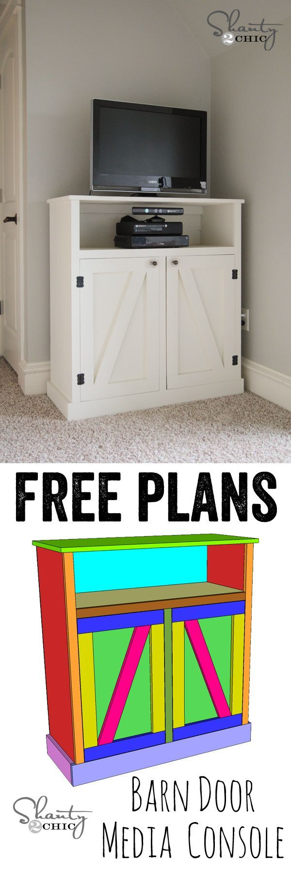 LOVE this barn door media console! FREE plans and a full tutorial! www.shanty-2-chic....