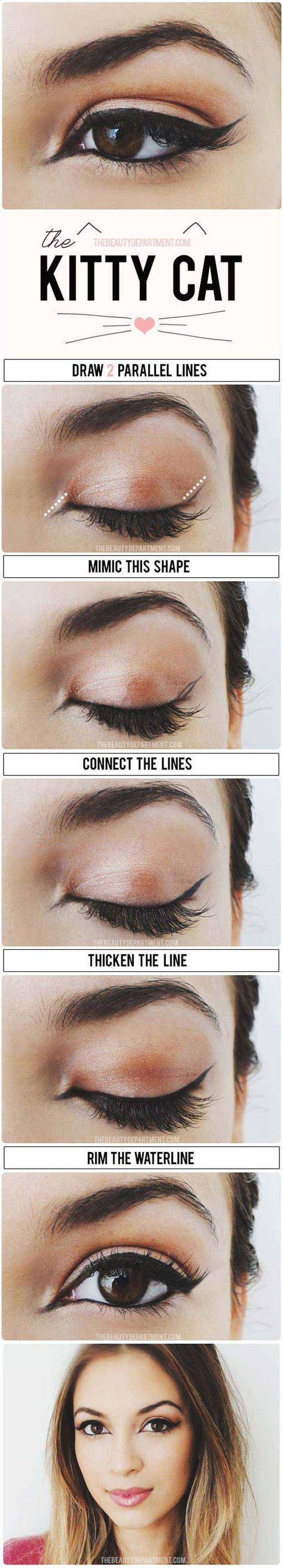 Winged Eyeliner Tutorials - The Cat Eye Stylized- Easy Step By Step Tutorials For Beginners and Hacks Using Tape and a Spoon, Liquid Liner, Thing Pencil Tricks and Awesome Guides for Hooded Eyes - Short Video Tutorial for Perfect Simple Dramatic Looks - thegoddess.com/winged-eyeliner-tutorials #wingedlinerhacks #wingedlinerforhoodedeyes