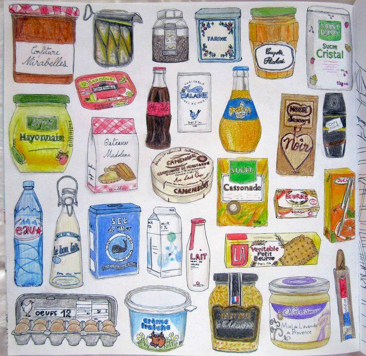 Zoe De Las Cases, Secret Paris Colouring Book, Groceries by Michelle
