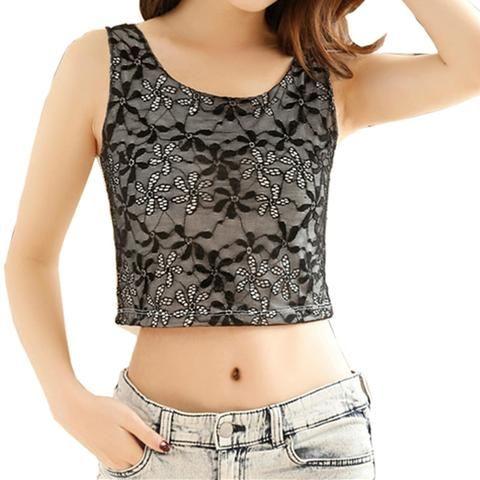 d932659522a4d Crop Top Women Summer Sexy Lingerie Tank Tops Off White   Black Lace Crop-top  Female Bralette Sleeveless Blouse Streetwear 2018