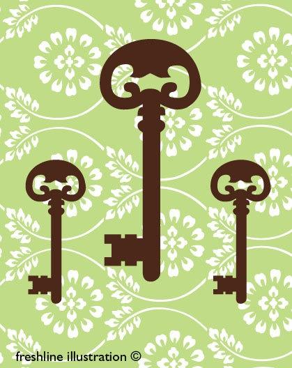 Skeleton Key Print - possibility for green bathroom | Home