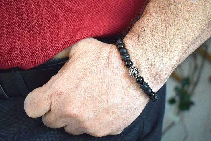 Mens Bracelet, Sterling Silver Bead, Mate Black Onyx, Lava & Black Obsidian beads, Bracelet for Him, Mens Beaded Bracelet, Bracelets for Men