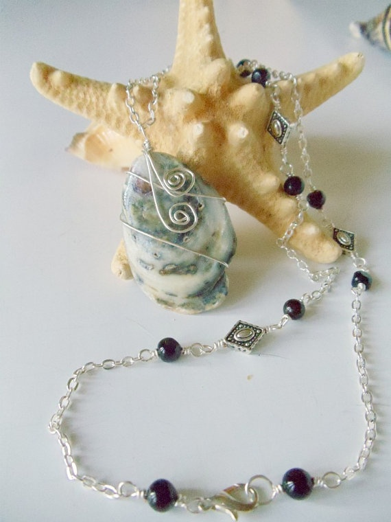Oyster Shell Pendant and Black Chalcedony 2 Piece by simplysuzie2, $30.00
