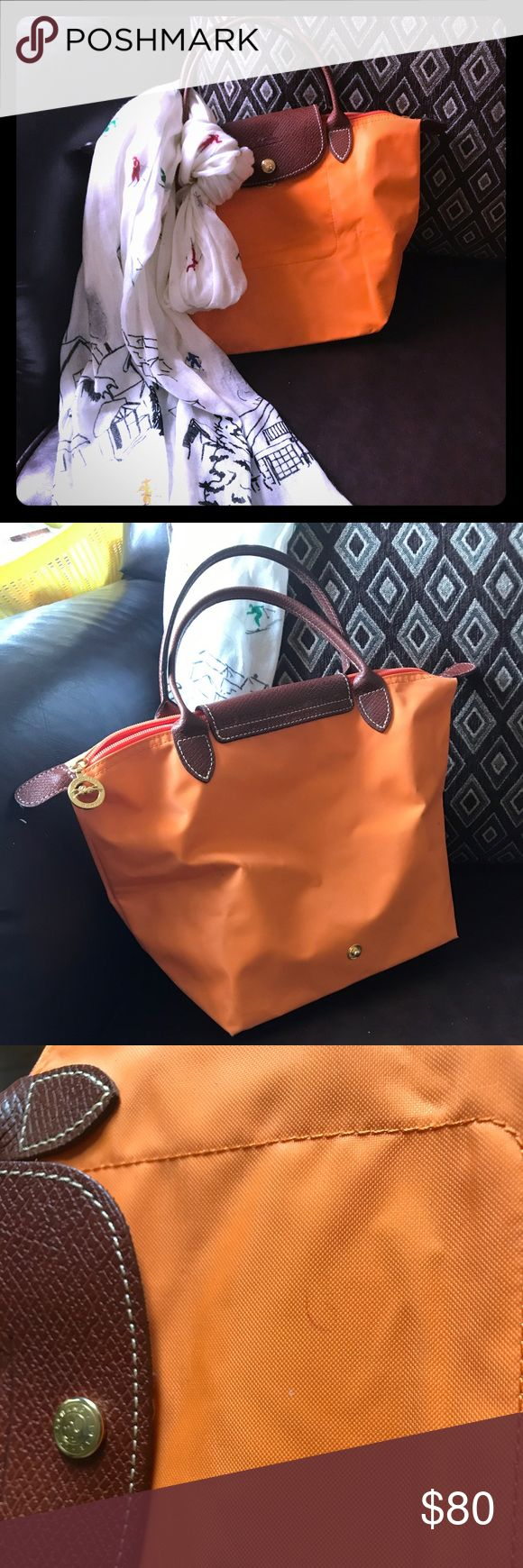 Authentic Longchamp Mini Le Pliage Tote Beautiful authentic Longchamp Le Pliage mini orange Tote bag pre loved with tons of life left!!!!!! Minor marks around as seen in pictures, clean inside and no tears or rips. Perfect for a casual/ dress down outing!!!! Longchamp Bags Totes