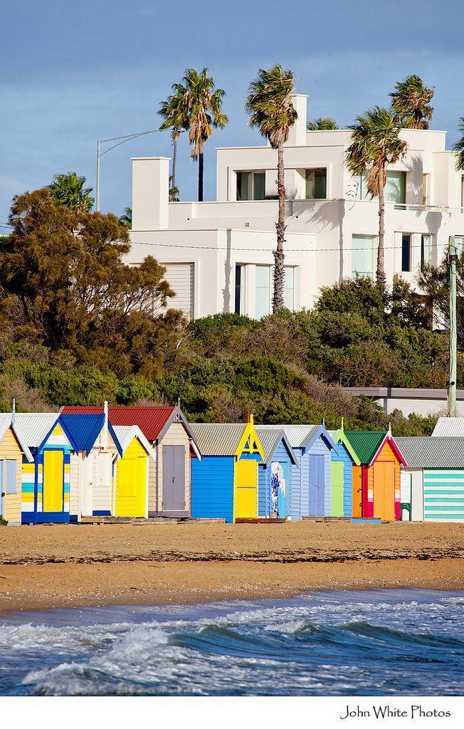 Colourful beach huts on Brighton Beach, Melbourne, Victoria, Australia