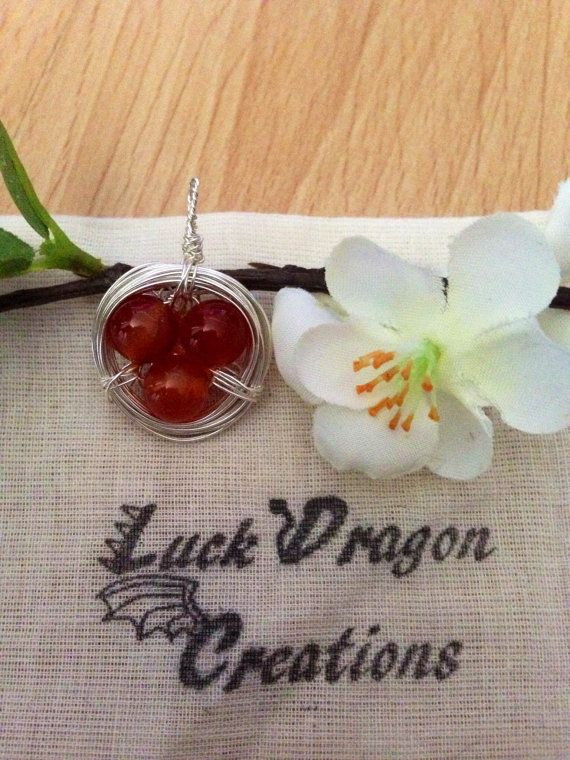 Birds Nest Pendant with Natural Carnelian by LuckDragonCreations