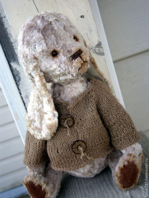 Купить Пес Бродяга - бежевый, плюш, Плюшевый мишка, плюш винтажный, плюш для тедди, мишка