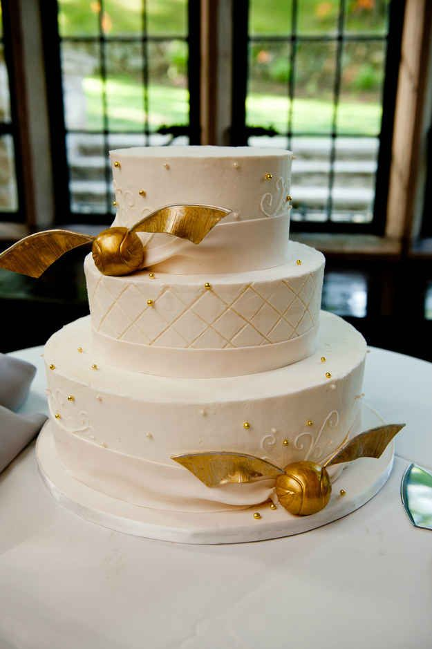 Share slices of a golden snitch cake.