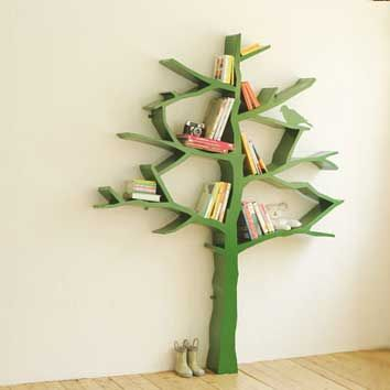 This green tree bookshelf is a cute styling idea for children's rooms or a kids' book nook.