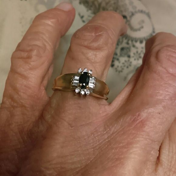 Real 10K gold ring PRICE ABSOLUTELY FIRM Unbelievably simple bit stunning real 10 carat yellow gold ring featuring real diamonds and a real ruby, may keep this one if little interest shown. Jewelry Rings