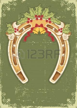 Christmas tła z podkowy holly berry pozostawia dekorację i ramę Zdjęcie Seryjne - 16475210