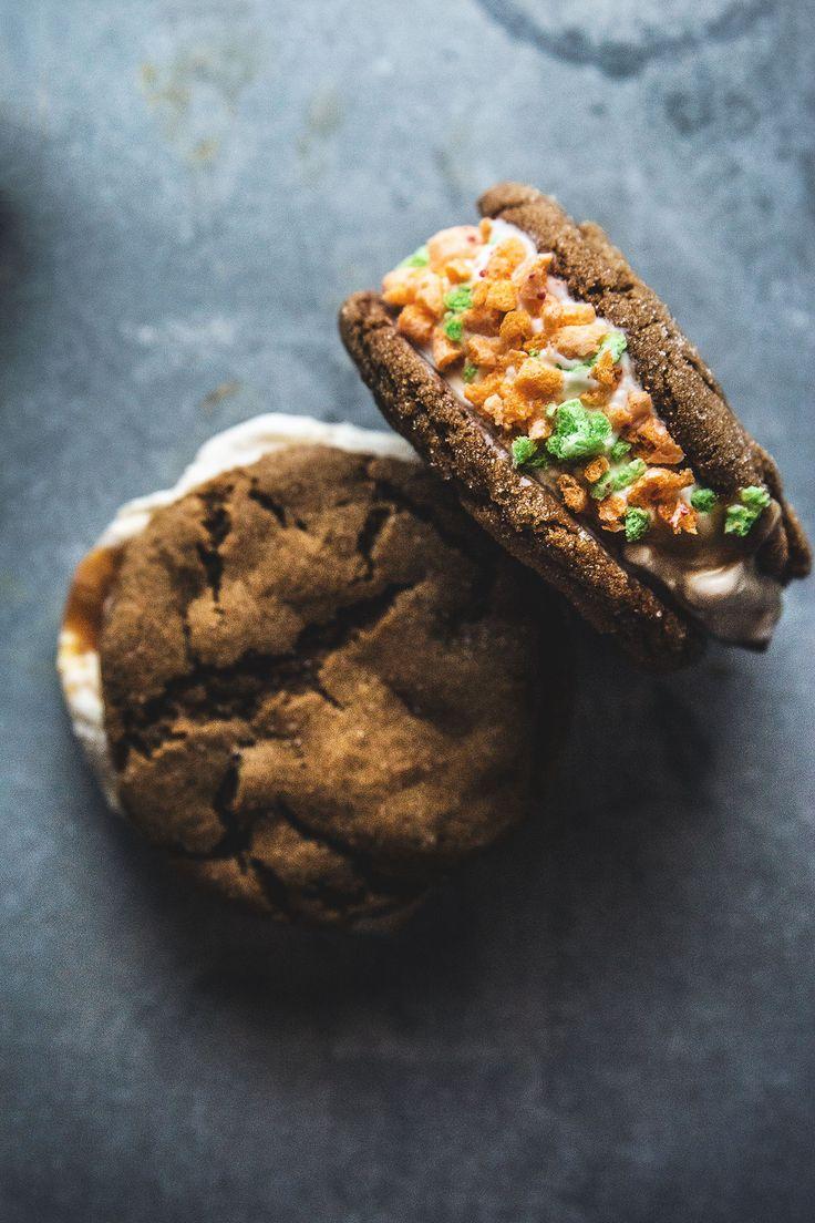 Apple Jacks Cereal Milk Ice Cream Sandwiches with Applejack (Brandy) Caramel Swirl | HonestlyYUM