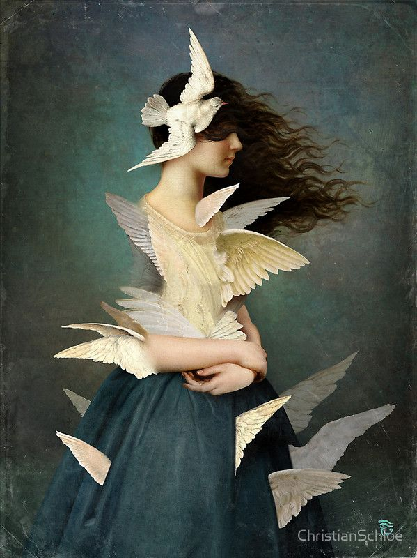 """God turns you from one feeling to another and teaches by means of opposites so that you will have two wings to fly, not one."" —Rumi (Art: ""Metamorphosis"" by Christian Schloe) ..*"
