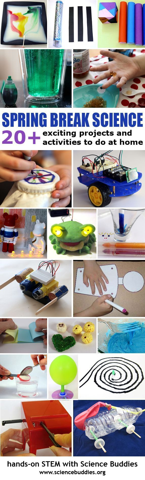 Spring break is coming! Here is a great roundup of over 20 projects and science experiments to keep kids busy during spring break!