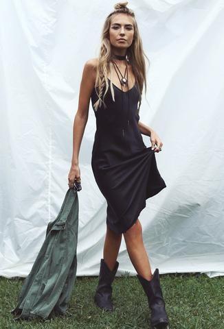 RESTOCKED! Classic 90's Slip Dress - Black - The Freedom State