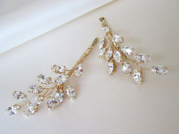 Swarovski crystal hair pins Bridal crystal bobby pins Leaf