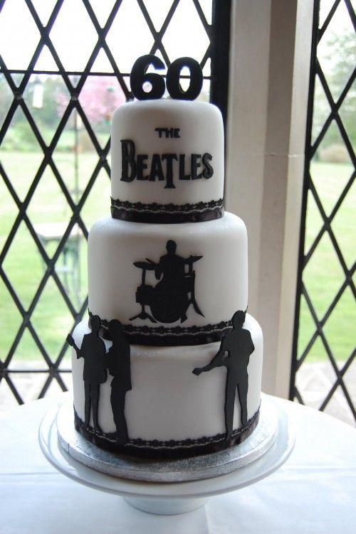 white and black Beatles Birthday Cake