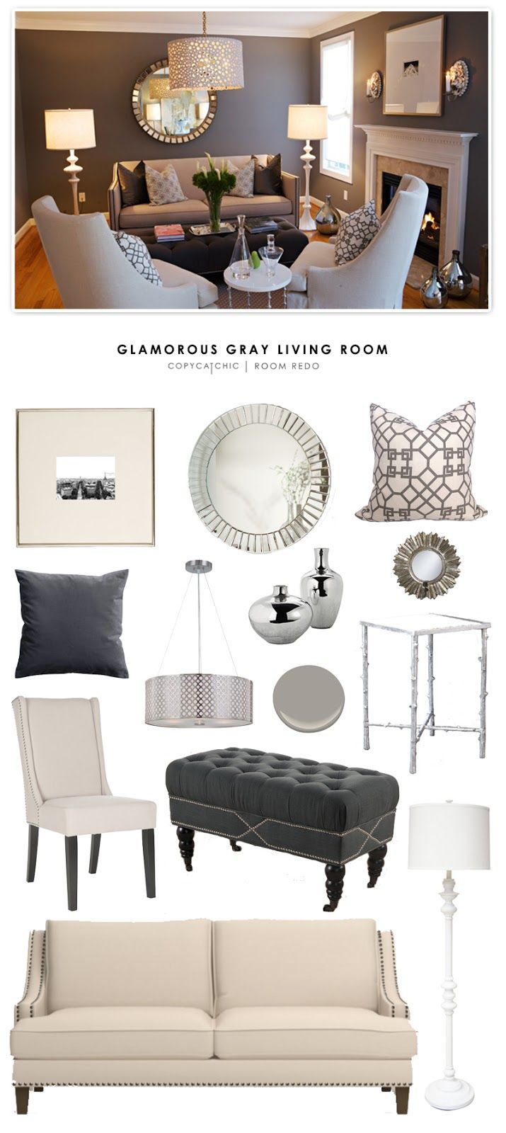 Copy cat chic room redo glamorous gray living room for Living room update ideas