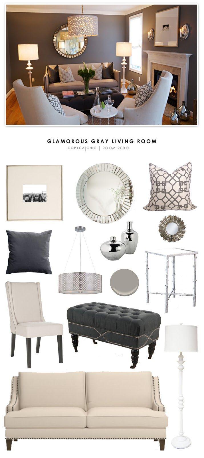 Copy Cat Chic Room Redo | Glamorous Gray Living Room Update