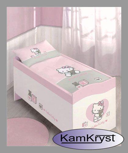 Pościel niemowlęca do łóżeczka z małą kotką Hello Kitty - 100% bawełna - rozmiar pościeli 100x135cm - Może dobry pomysł na Dzień Dziecka? #pościeldołóżeczka #pościelniemowlęca #kamkryst #hellokitty