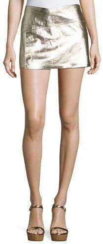 BA&SH Yruce Metallic Leather Mini Skirt