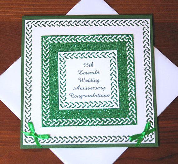 55th Emerald Wedding Anniversary Congratulations 300gsm