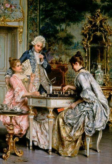 Arturo Ricci-au jeu d'échec dans lestyle rococo