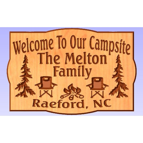 Welcome to Our Campsite Camping Chairs 18 X 12 Cedar Carved Wood Sign ($48) ❤ liked on Polyvore featuring home, home decor, wall art, grey, home & living, home décor, wall décor, wall hangings, personalized wooden signs and wooden signs
