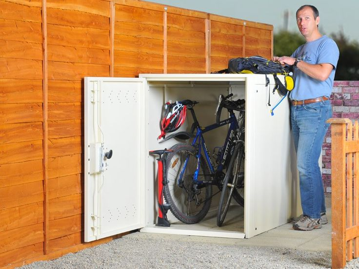 Space saving metal bike locker - bike storage for 2 bikes