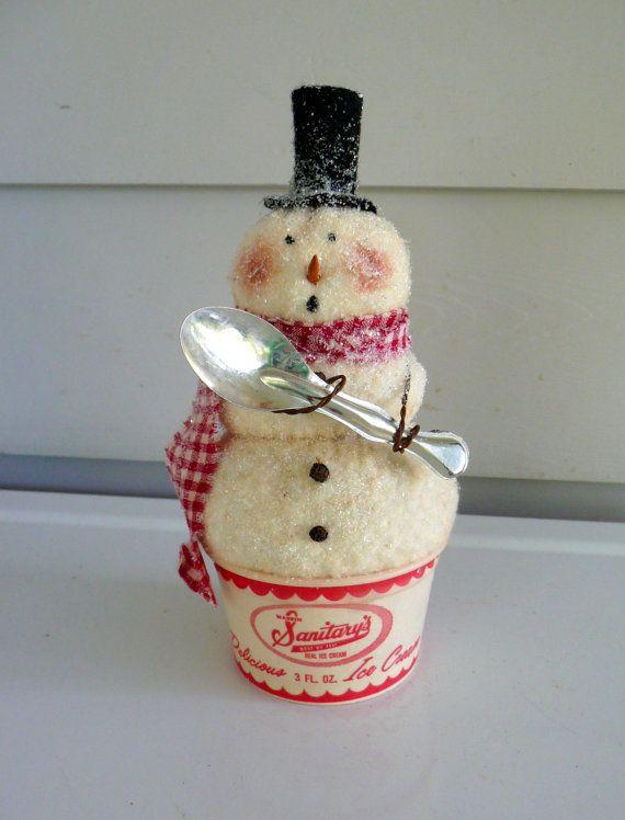 Primitive Snowman vintage ice cream cup spoon von ahlcoopedup