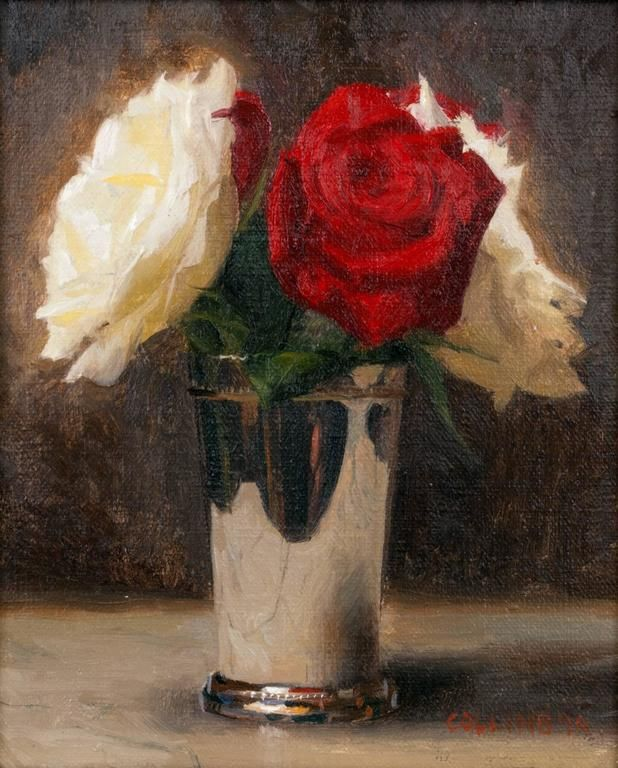 Jacob Collins | Red and White Roses | From a unique collection of still-life paintings at…