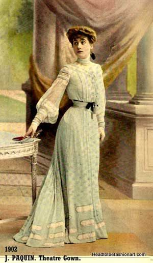 1902 Rare design by Jeanne Paquin , romantic gown in pale blue was worn for the evening Theatre