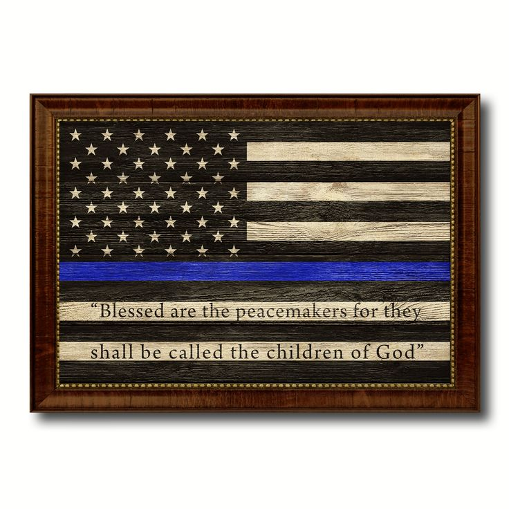 Law Enforcement Thin Blue Line Flag With Mathew 5:9 USA Flag Texture Canvas Print with Brown Picture Frame Home Decor Wall Art Gifts