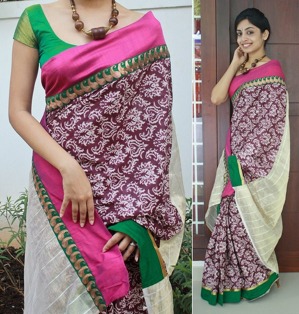 Baroque printed purple and white cotton saree with semi raw silk borders. gold net pallu Blouse fabric- similar to picture