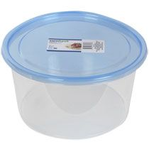 Sure Fresh Large Round Plastic Containers with Lids, 136-oz. Capacity.  Price: $1.00 each.