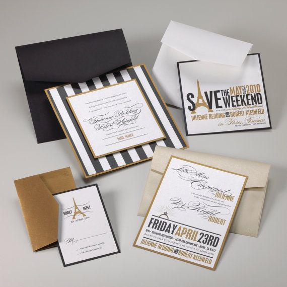 Wedding Invitations Dayton Ohio: Stripe Black White And Gold Wedding Invitation
