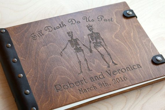 Wedding Guest book, Guestbook, Custom Guest book, Halloween, Wooden Guest Book, Skull, Skeleton, Skull Wedding