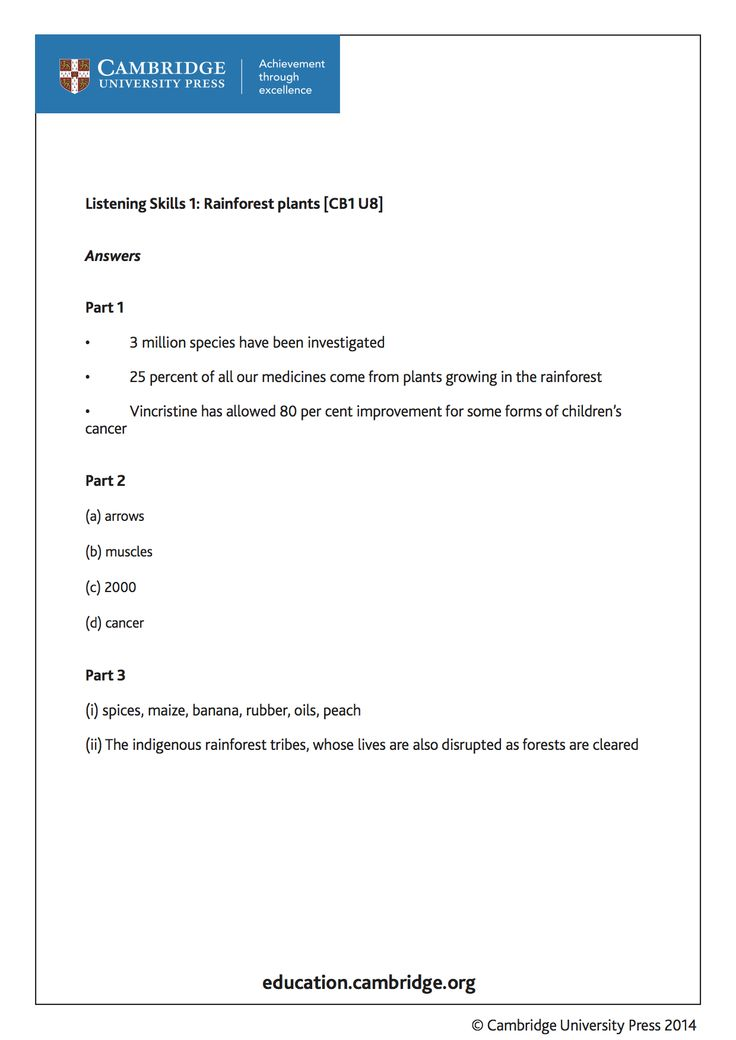 Answer-sheet for training video on Listening Skills - Rainforest Plants, for learners of English as a Second Language with Cambridge author Peter Lucantoni. Take a look at the video and try answering the questions. http://youtu.be/iczdlA99YsY?list=PL2HgNIO5uPKAr415r0Av5oTn4Nso2WqHd
