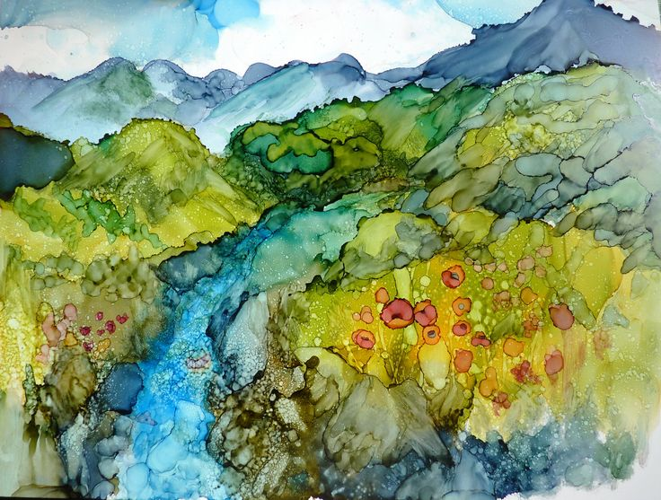Alcohol Ink Landscape Print by Maure Bausch. $12.50, via Etsy.